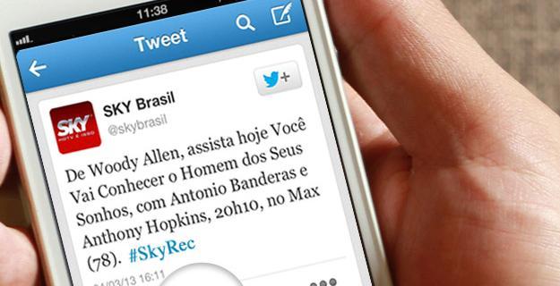 SkyTV permite que usuários gravem conteúdo via hastag do Twitter. (Foto: Reprodução / AdNews)