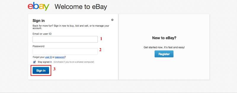 Logue-se no ebay para continuar com a compra (Foto: Reprodução/Thiago Bittencourt)