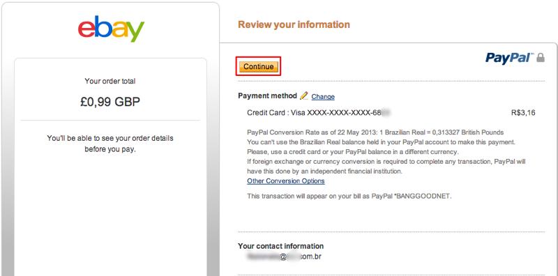 """Altere o seu método de pagamento ou clique em """"Continue"""" (Foto: Reprodução/Thiago Bittencourt)"""