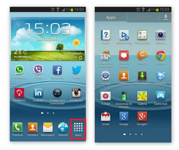 Tela inicial do smartphone e área dos aplicativos (Foto: Reprodução/Lívia Dâmaso)