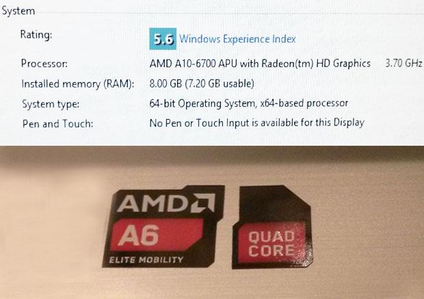 Acima, desktop Windows equipado com o APU Richland; abaixo, símbolo do chip A6 da AMD em um notebook (Foto: Isadora Díaz/TechTudo)