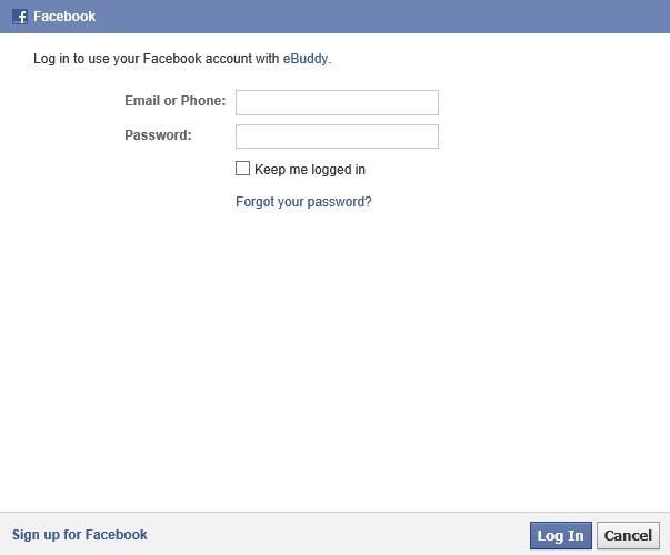 Insira e-mail e senha para acessar o eBuddy via Facebook