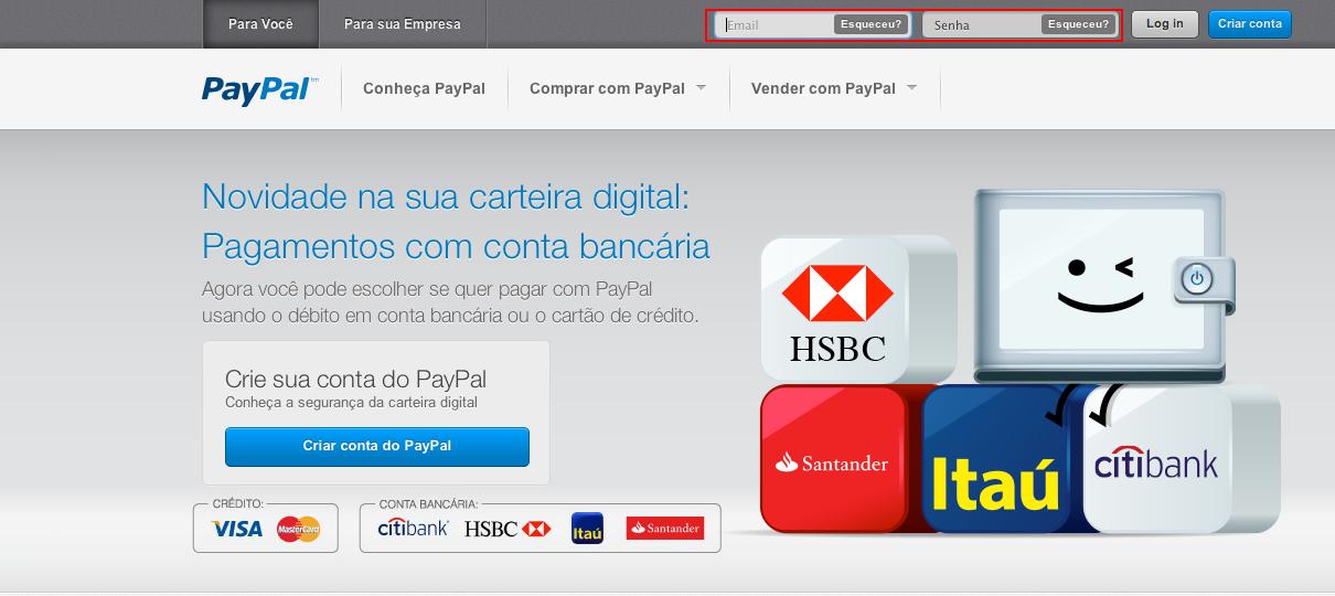 Acesse sua conta no PayPal. (Foto: Reprodução)
