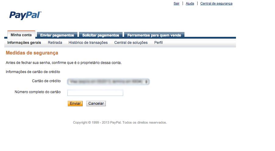 Para fechar a conta é necessário inserir o número completo do cartão cadastrado. (Foto: Reprodução)