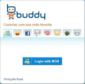 Tela inicial para entrar no eBuddy Web Messenger