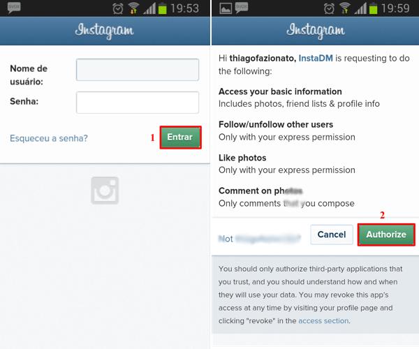 Realize seu login por meio da conta do Instagram (Foto: Reprodução/Thiago Bittencourt)