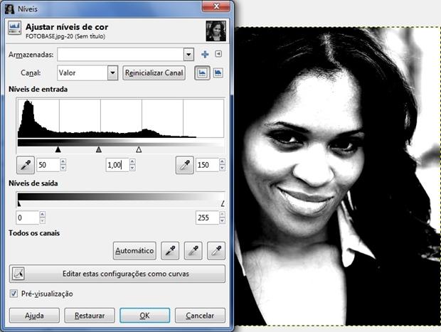 """Janela """"Níveis"""" de cor aberta e devidamente configurada (Foto: Reprodução/Raquel Freire)"""