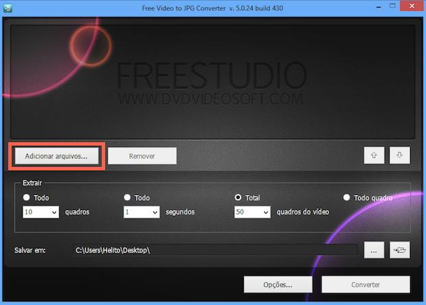 Interface principal do Free Video To JPG Converter (Foto: Reprodução/Helito Bijora)