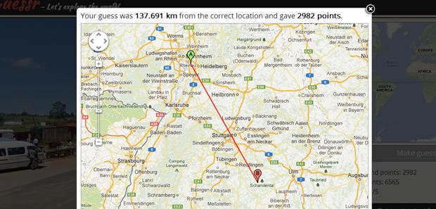 O site calcula a distância entre o palpite e a localização correta (Foto: Reprodução)