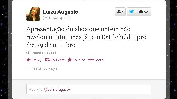 @LuizaAugusto (Foto: Reprodução)
