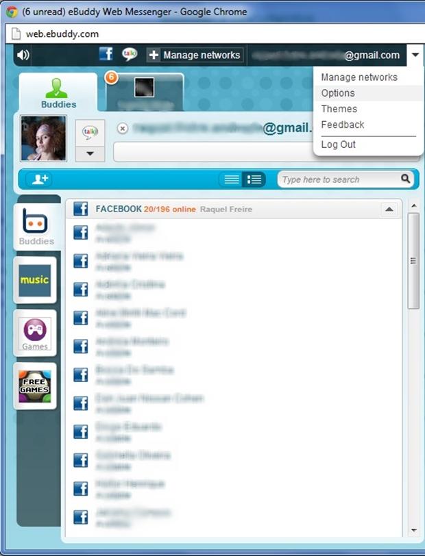 Tela inicial do eBuddy Messenger (Foto: Reprodução/Raquel Freire)