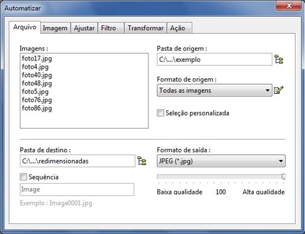 """Aba """"Arquivo"""" da janela """"Automatizar"""" (Foto: Reprodução/Raquel Freire)"""