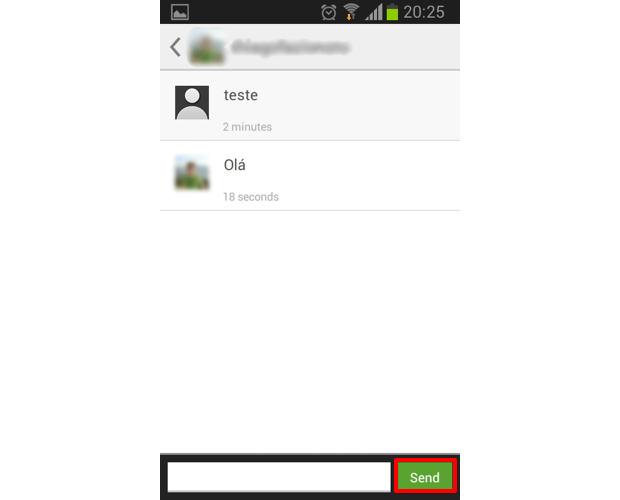 """Digite sua mensagem privada e toque em """"Send"""" para enviá-la (Foto: Reprodução/Thiago Bittencourt)"""