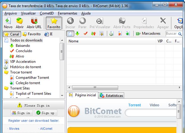 Interface do BitComet (Foto: Reprodução/Edivaldo Brito)