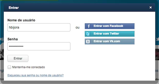 Acessando conta do Ask.fm (Foto: Reprodução/Helito Bijora)