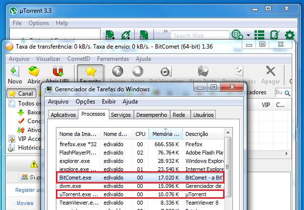 uTorrent além de pequeno, usa menos memória (Foto: Reprodução/Edivaldo Brito)