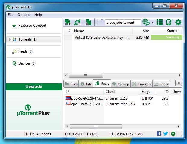 Interface do uTorrent  (Foto: Reprodução/Edivaldo Brito)