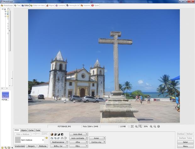 Tela inicial do Photoscape com imagem carregada (Foto: Reprodução/Raquel Freire)