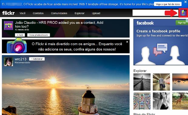 Página inicial do Flickr (Foto: Reprodução/Lívia Dâmaso)