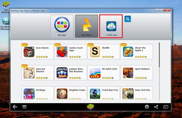 """Clique no botão """"1-Click Sync"""" para iniciar a configuração da conta do Google  (Foto: Reprodução/Thiago Bittencourt)"""