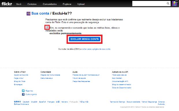 Configurações para exclusão da conta no Flickr (Foto: Reprodução/Lívia Dâmaso)