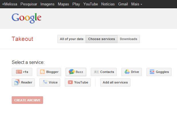 """Faça download dos seus dados do Google Buzz usando o """"Takeout"""
