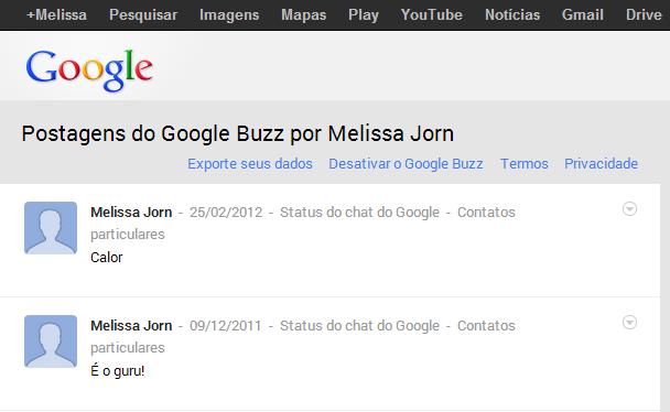 Dados do Google Buzz ficarão disponíveis na nuvem do Drive (Foto: Reprodução / Melissa Cruz)