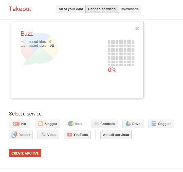 Takeout organiza dados de usuário Google para download (Foto: Reprodução / Melissa Cruz)