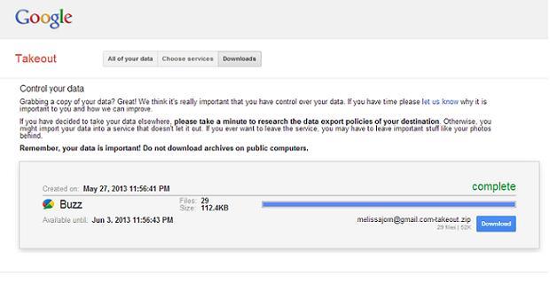 Na aba downloads, consulte o histórico de solicitação de dados no Google Takeout (Foto: Reprodução / Melissa Cruz)