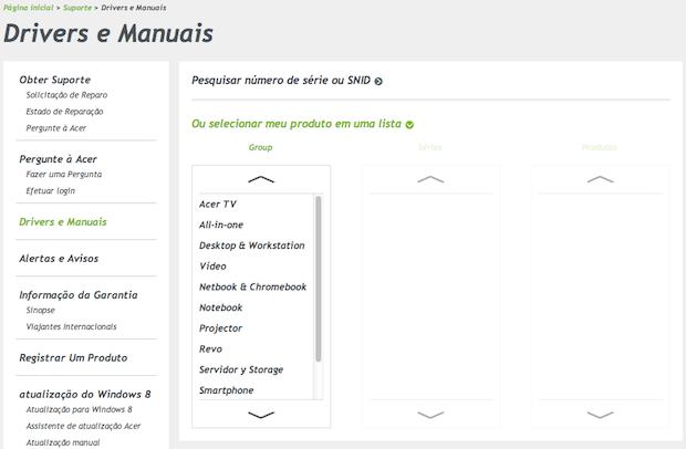 Página de downloads da Acer (Foto: Reprodução/Helito Bijora)