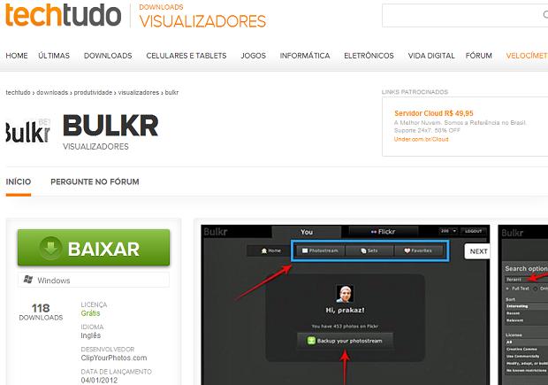 Baixando o Bulkr no TechTudo Downloads (Foto: Reprodução/Edivaldo Brito)