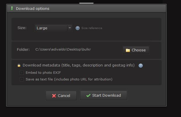 Configurando e iniciando o download das fotos (Foto: Reprodução/Edivaldo Brito)