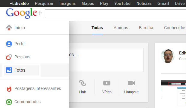 Acessando a área de fotos do Google+ (Foto: Reprodução/Edivaldo Brito)