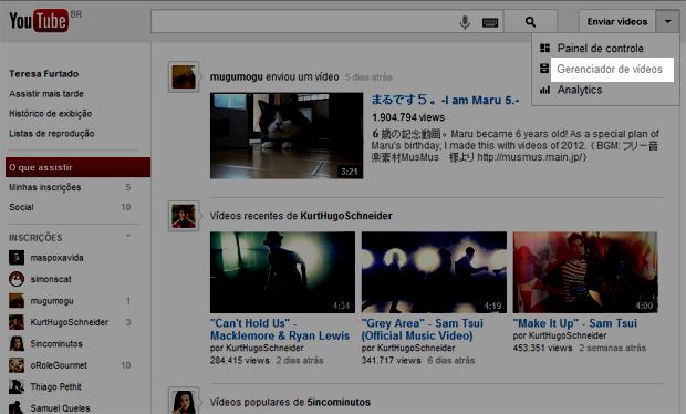 1 acessando o gerenciador de videos