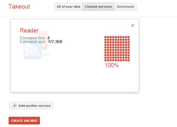Exportando dados do Google Reader (Foto: Reprodução/Helito Bijora)