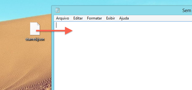 Abrindo arquivo no bloco de notas (Foto: Reprodução/Helito Bijora)