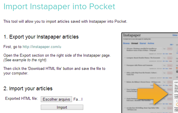 Página de importação do Pocket (Foto: Reprodução/Helito Bijora)