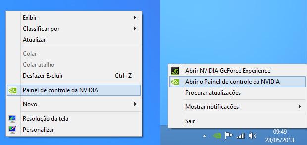 Acessando o painel de controle da NVIDIA (Foto: Reprodução/Helito Bijora)
