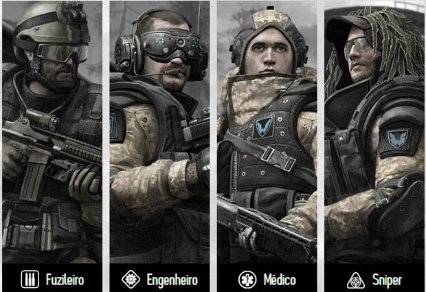 Escolha uma dentre as quatro classes disponíveis em Warface (Foto: Divulgação) (Foto: Escolha uma dentre as quatro classes disponíveis em Warface (Foto: Divulgação))