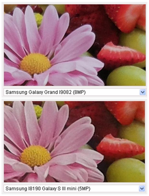 A fotografia capturada pela câmera do Galaxy Grand Duos é mais nítida do que a fotografia capturada pela câmera do Galaxy S3 Mini (Foto: Reprodução/GSM Arena)
