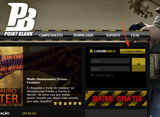 Clique em Criar conta ao acessar o site de Point Blank (Foto: TechTudo)
