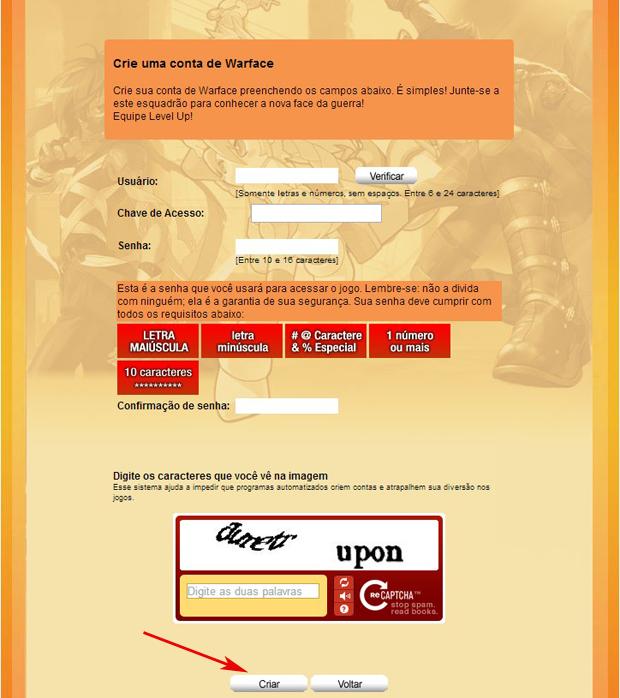 Acesse sua conta da Level Up para criar uma conta no Warface (Foto: TechTudo)