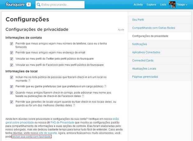 Opção de deletar perfil está nas configurações de privacidade (Foto: Reprodução/Thiago Barros)