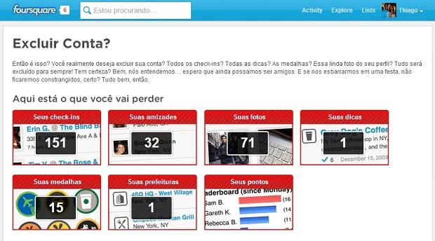 Foursquare tenta convencer usuário a não excluir conta (Foto: Reprodução/Thiago Barros) (Foto: Foursquare tenta convencer usuário a não excluir conta (Foto: Reprodução/Thiago Barros))
