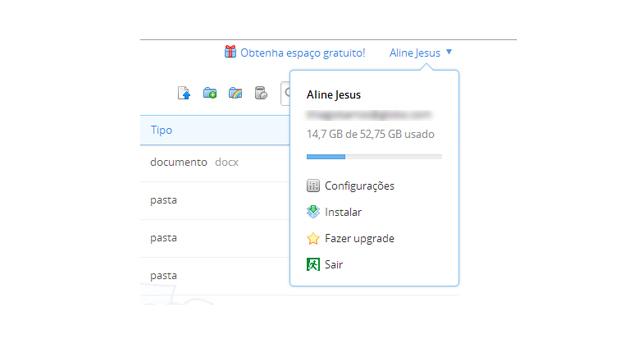 Acessando as configurações do Dropbox (Foto: Aline Jesus/Reprodução)
