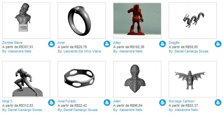 Produtos disponíveis para impressão no site Imprima 3D (Foto: Reprodução/Imprima 3D)