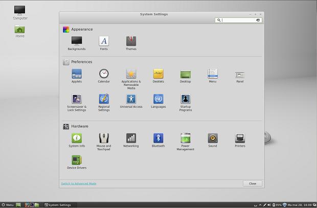 Ambiente Cinnamon agora tem painel de controle próprio (Foto: Reprodução/WebUpd8)