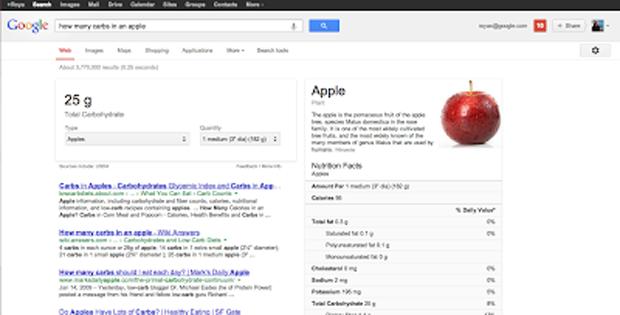 Informações nutricionais de alimentos poderão ser pesquisadas pelo Google (foto: Divulgação)