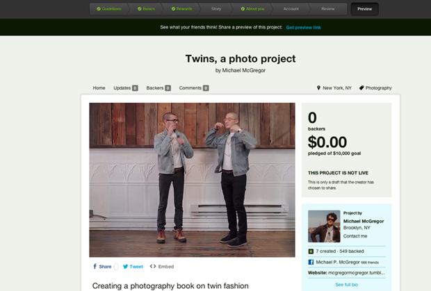 """Tela inicial do projeto, com link """"Get Preview Link"""", em azul, na parte superior (Foto: Divulgação/Kickstarter)"""
