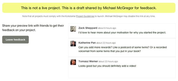 Página de feedbacks do Kickstarte (Foto: Divulgação/Kickstarter)
